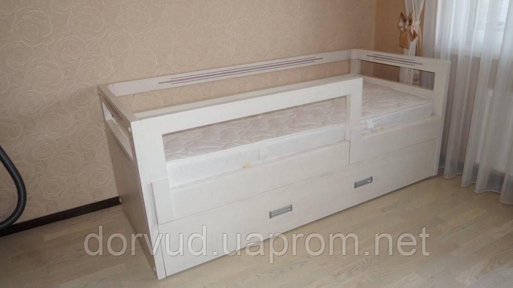 Детская Кровать из натурального дерева от 3 лет Кр 1-2 с бортиками