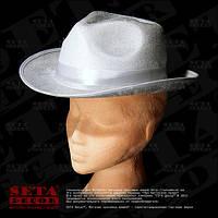 Гангстерская белая шляпа 56-57 размер карнавальная