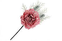 Декоративный искусственный цветок Пион, 33 см, цвет - темно- розовый 832-138