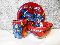 Набор детской стеклянной посуды 3 предмета. Оптом. Ninjago