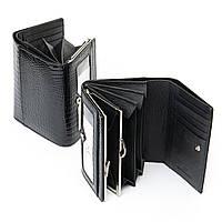 Классический черный лаковый кожаный кошелёк из натуральной кожи SERGIO TORRETTI(13*9,5*3,5см), WS-12 black