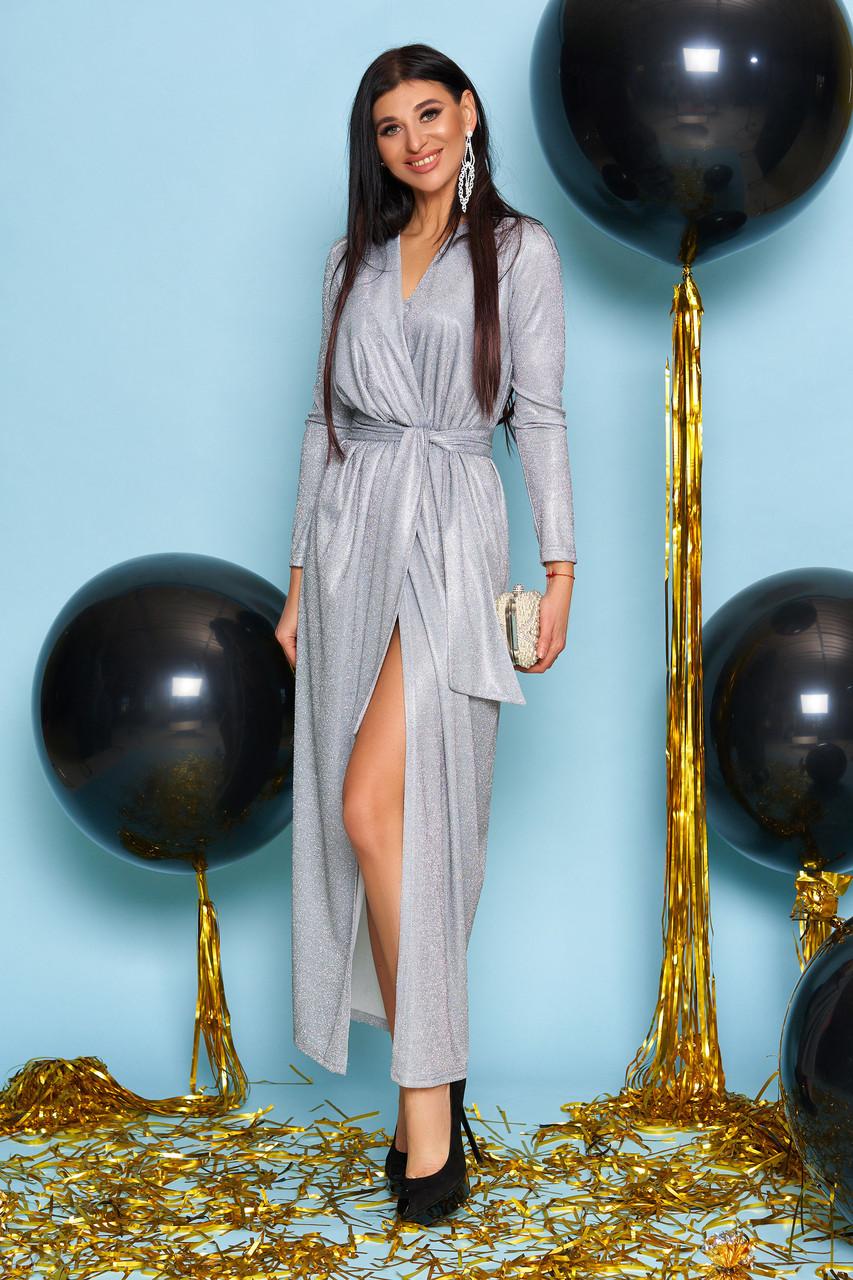 Вечернее платье женское, размеры от 42 до 50, трикотаж с люрексом, серое