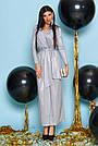 Вечернее платье женское, размеры от 42 до 50, трикотаж с люрексом, серое, фото 3