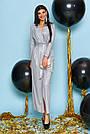 Вечернее платье женское, размеры от 42 до 50, трикотаж с люрексом, серое, фото 4