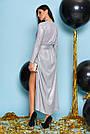 Вечернее платье женское, размеры от 42 до 50, трикотаж с люрексом, серое, фото 2