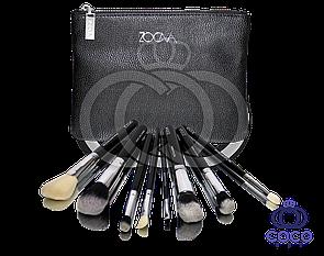 Професійний набір кистей для макіяжу Zoeva 8 штук в чорному клатче