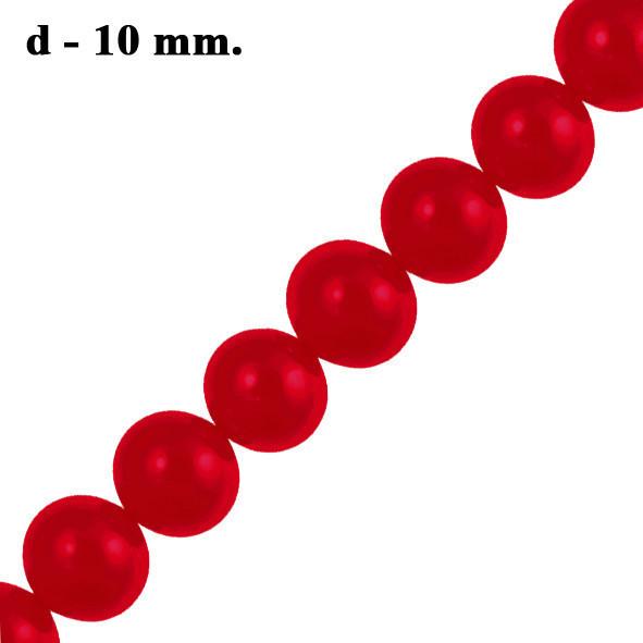 Бусины Стеклянные Жемчуг 10 мм. Цвет: Кармин Красный, Перламутровые тон 51; около 85 шт/нить Рукоделие