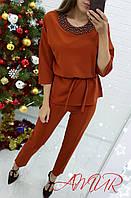 Костюм женский нарядный с брюками СЕР276 терракот