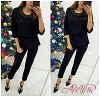 Костюм женский нарядный с брюками большие размеры СЕР1276 черный
