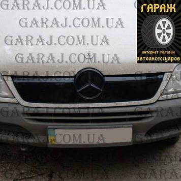 """Зимняя накладка Mercedes Sprinter CDI 2002-2006 На решетку радиатора Глянец """"FLY"""""""