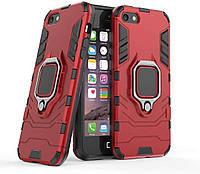 Чехол Iron Ring для Iphone 5 / 5s / SE бронированный Бампер с подставкой Red