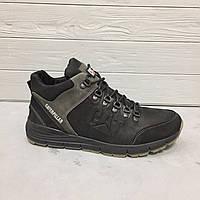 Зимние кожаные мужские ботинки Caterpillar! Кроссовки черные с мехом  Катерпиллер ., фото 1
