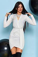 Белое вечернее платье женское трикотаж с люрексом