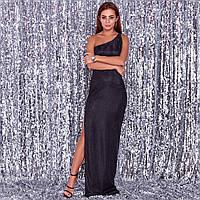 Жіноче плаття з вирізом по нозі чорне, фото 1