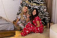 """Женская пижама """"Новогодняя красная"""" Хлопок, штаны и футболка M-L"""