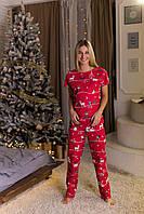 """Женская пижама """"Новогодняя красная"""" Хлопок, штаны и футболка, фото 1"""