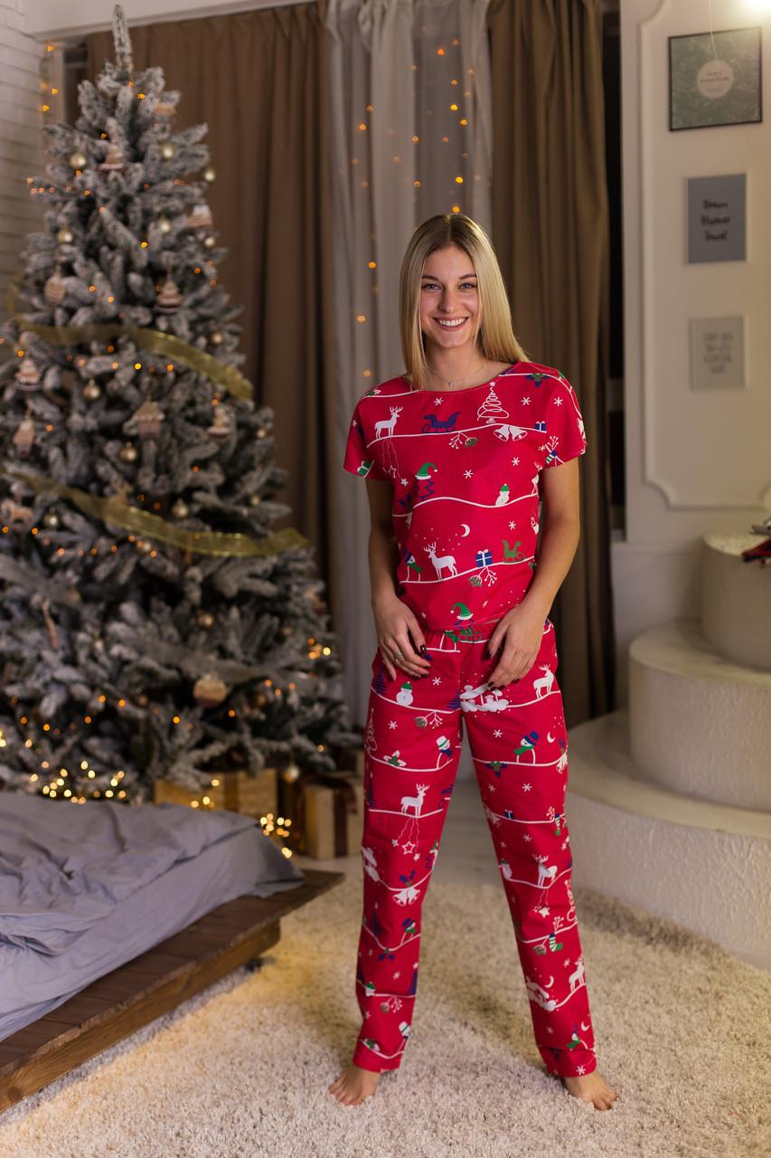 """Женская пижама """"Новогодняя красная"""" Хлопок, штаны и футболка"""