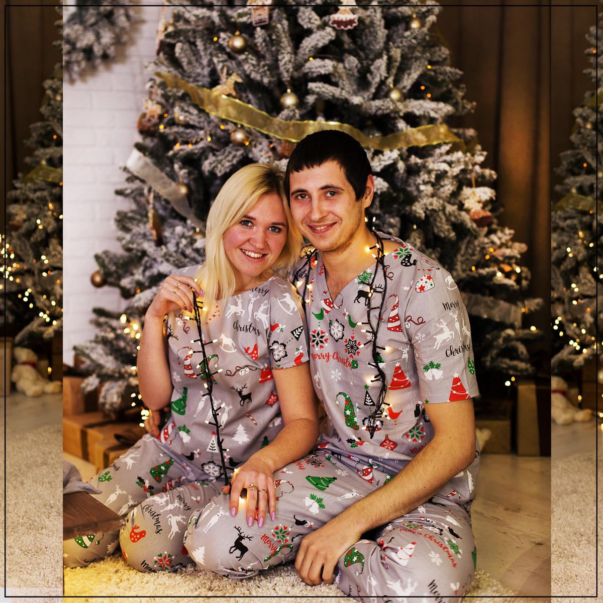 """Женская пижама """"Новогодняя серая"""" Хлопок, штаны и футболка"""