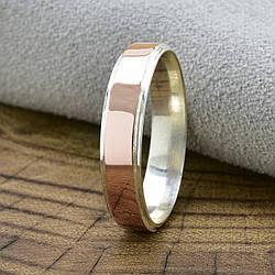Серебряное кольцо с золотом Мира вес 1.8 г размер 22