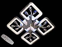 Светодиодная люстра с пультом-диммером и цветной подсветкой хром S8157-4, фото 1