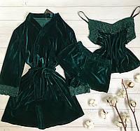 Женская велюровая пижама S-M волна