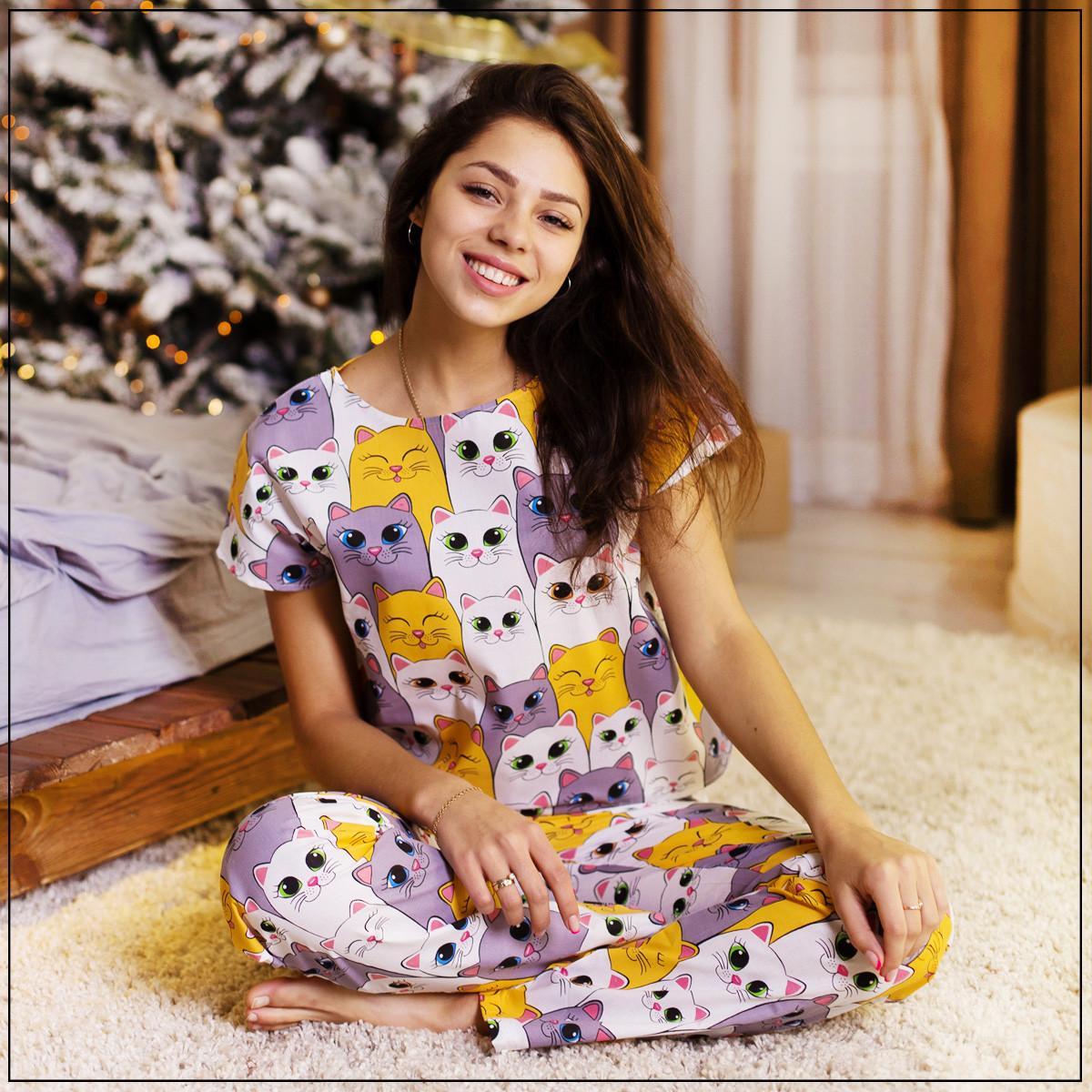 """Женская пижама """"Котики"""" Хлопок, штаны и футболка"""