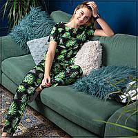 """Женская пижама """"Листья на черном"""" Хлопок, штаны и футболка"""