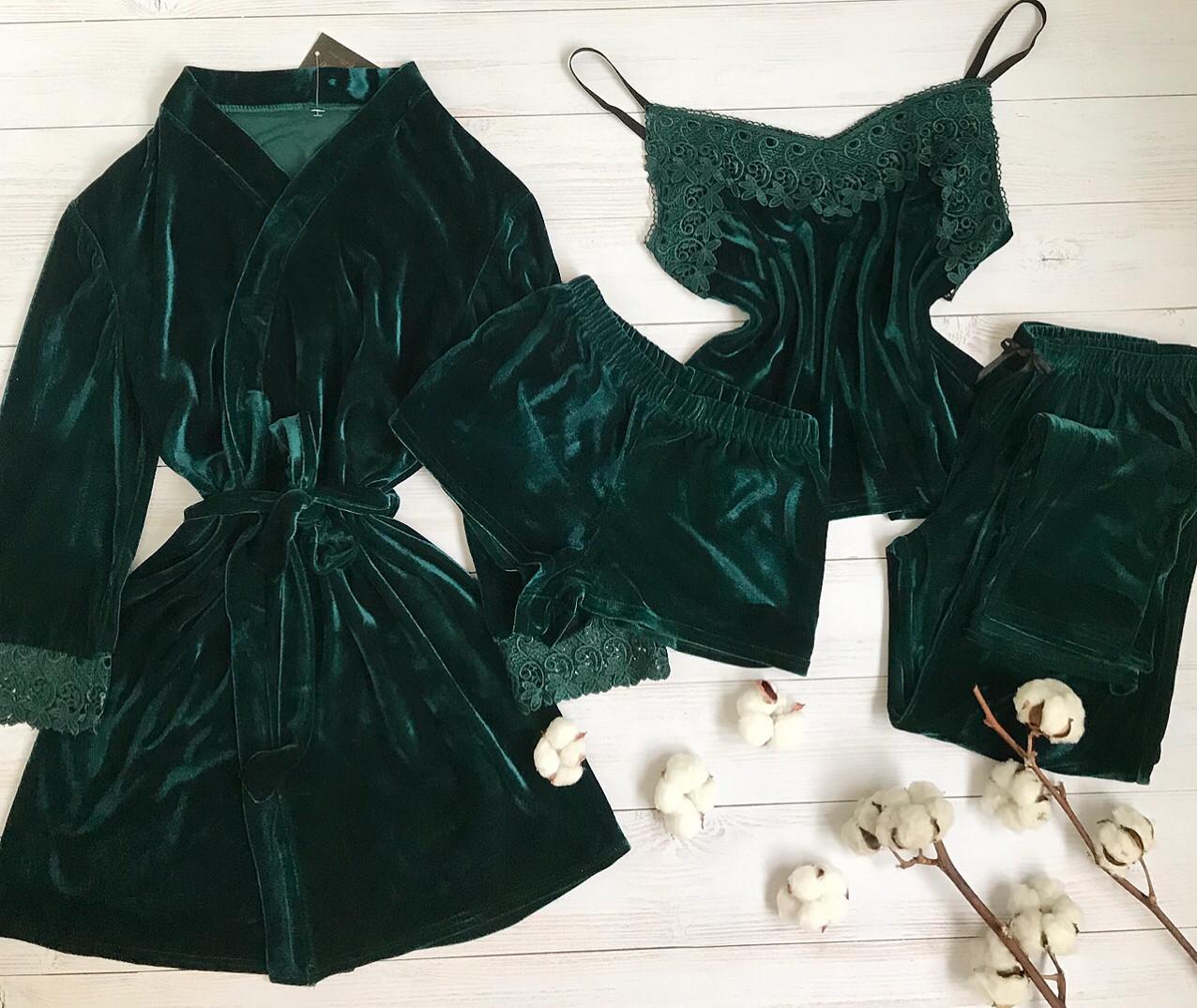 Женский велюровый халат  L-XL волна