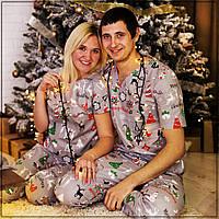 """Мужская пижама """"Новогодняя серая"""" Хлопок, штаны и футболка"""