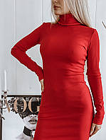 Женское платье-гольф в рубчик
