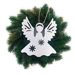 Подвесные ангелочки новогодний декор серебро