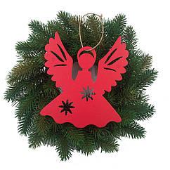 Декор на елку ангелочек красный