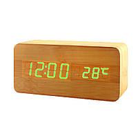 Электронные настольные часы под дерево 862-4 (подсветка:зеленая ) (S05169)