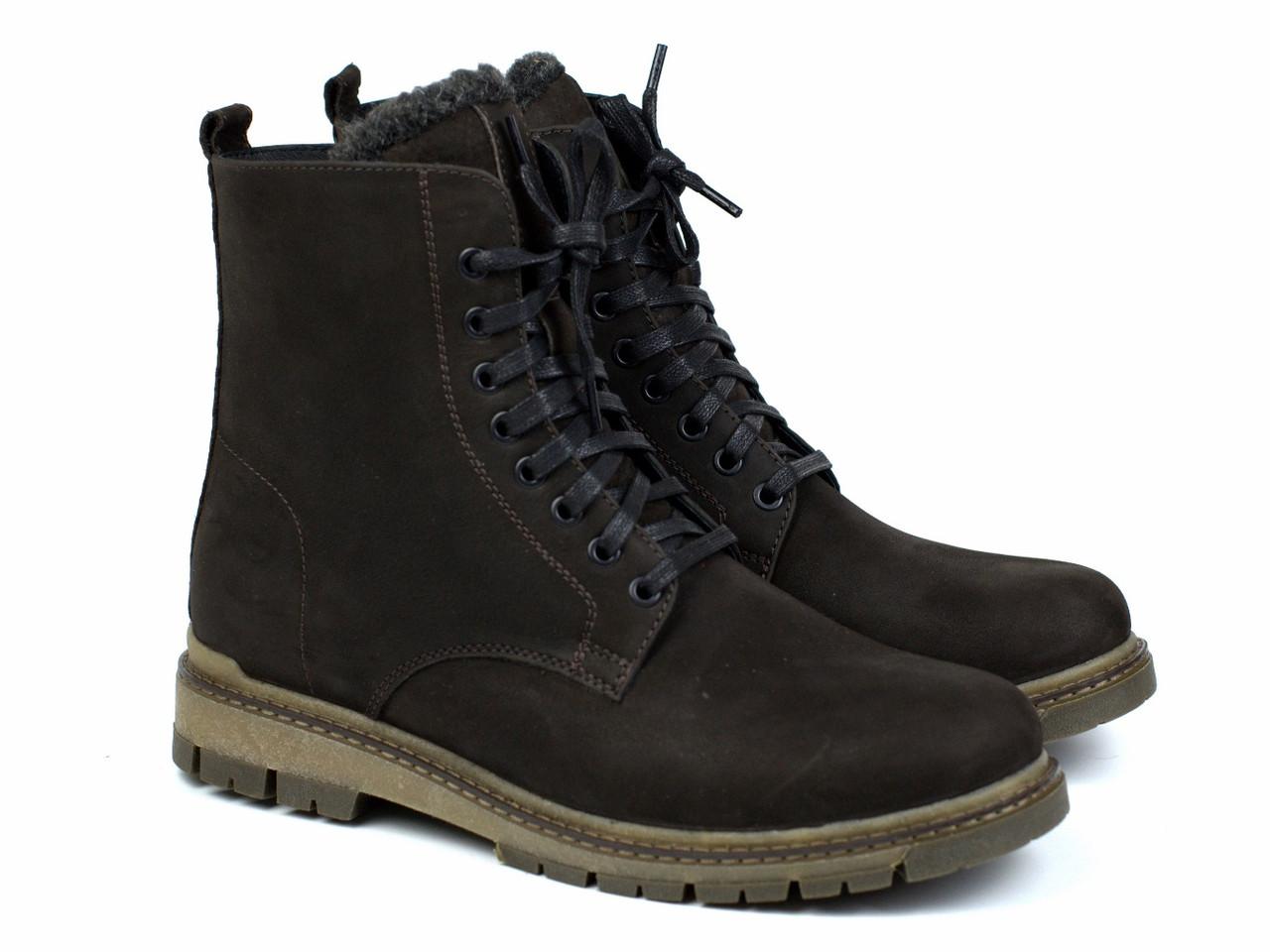 Большой размер зимние ботинки мужские берцы замшевые на меху коричневые Rosso Avangard Doks Brown Diamond BS