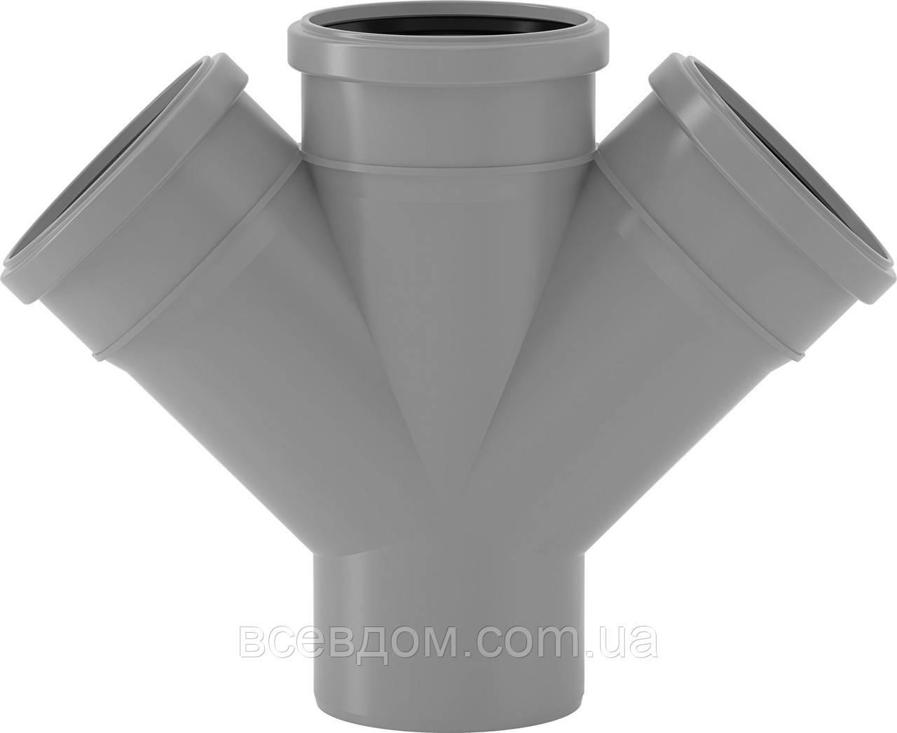 HDTA крестовина Valsir внутренней канализации 110/110/110х87°