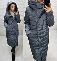 Зимнее пальто пуховик большие размеры, арт 180, серого цвета / серый графит