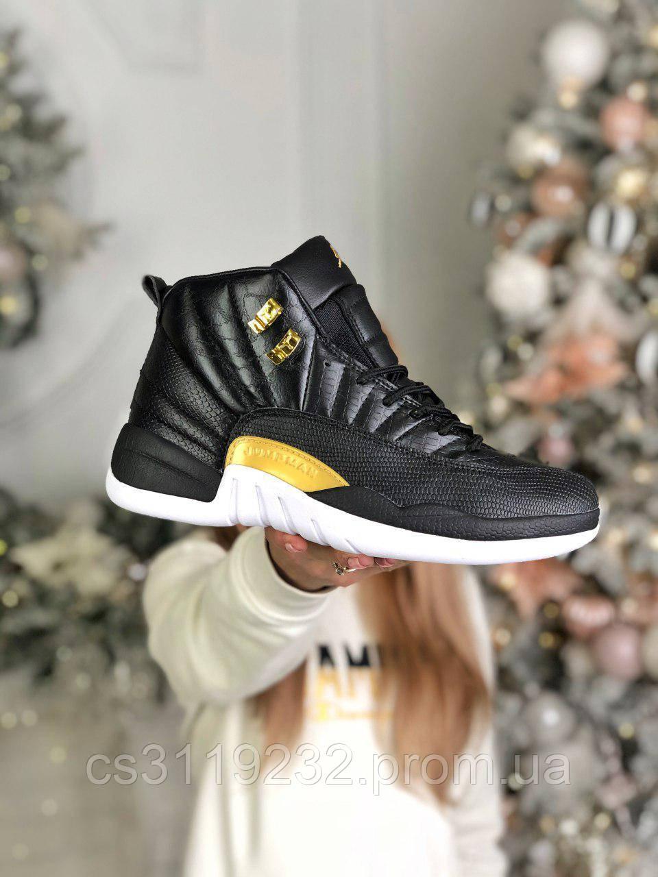 Чоловічі кросівки Air Jordan Retro 12 Snakeskin Black (чорні)