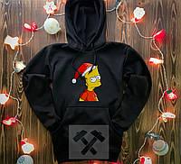 Худи мужское новогодее Барт Симпсон зимнее / кофта на флисе черная