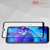 Защитное стекло для Xiaomi Redmi 8 Ксиоми Сяоми на весь экран клеится по всей поверхности черный Full Glue