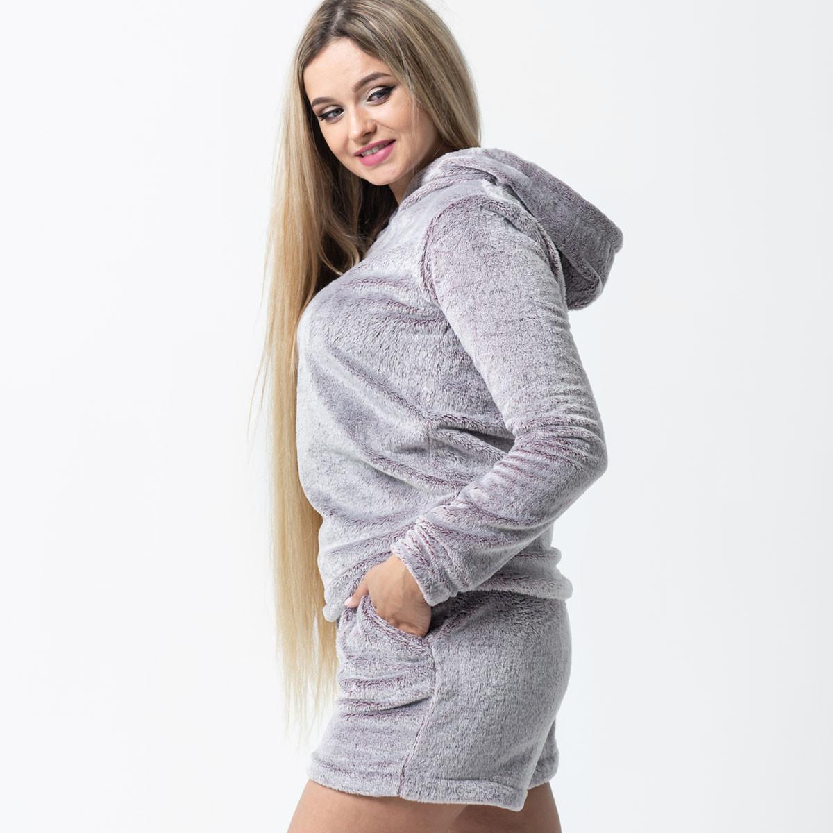 """Теплая детская пижама """"Cерая"""" велсофт кофта и шорты"""