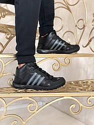 Мужские кроссовки зимние  Adidas (мех) (черные)