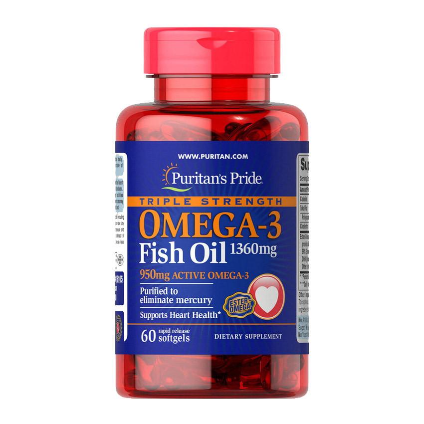 Омега 3 Puritan's Pride Triple Strength Omega-3 Fish Oil 1360 mg (60 капс) рыбий жир пуританс прайд