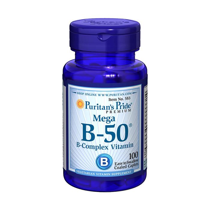 Комплекс витаминов группы Б Puritan's Pride Mega B-50 B-Complex Vitamin (100 капс) пуританс прайд