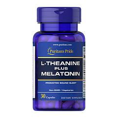 Л-теанин Puritan's Pride L-Theanine plus Melatonin (30 капс) пуринтанс прайд