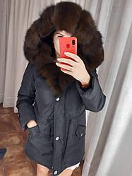 Куртка зимняя с натуральным мехом песец