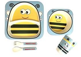 Набір дитячого бамбукового посуду ООПТ Бджілка 5 предметів: 2 тарілки, стаканчик, ложка, виделка