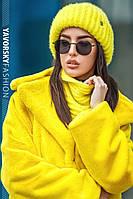 Набор шапка+хомут  54-58 см цвета  желтый белый пудра