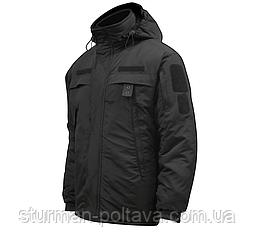 Куртка зимняя тактическая  для служащих в полиции с капюшоном черная нашивки велкро