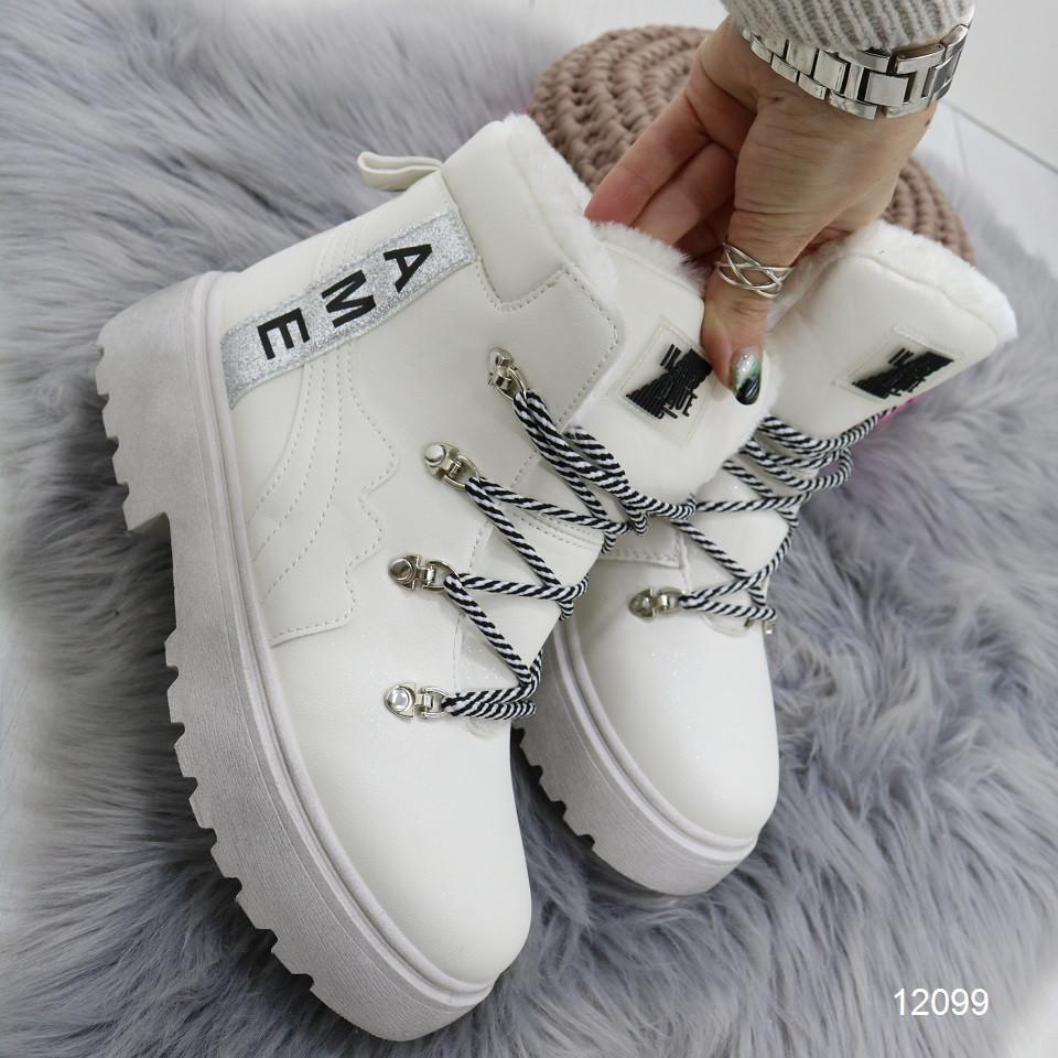 Женские зимние ботинки на высокой тракторной платформе и шнурках AME белые