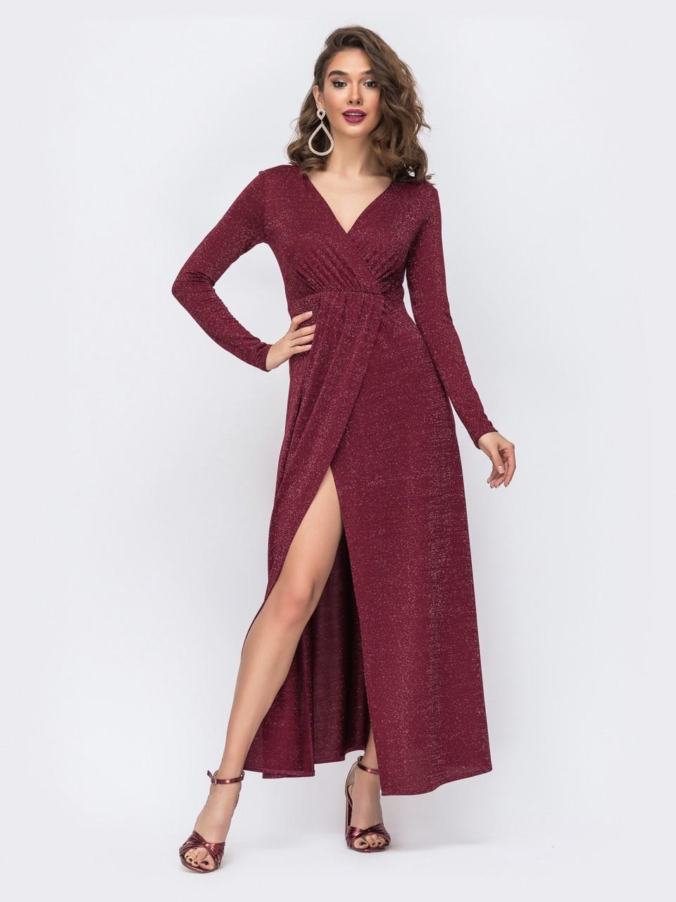 Вечернее платье на запах бордового цвета